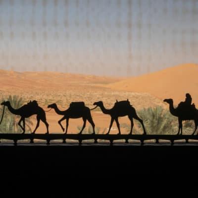 vue du désert d'abu dhabi depuis le qsar al sarab