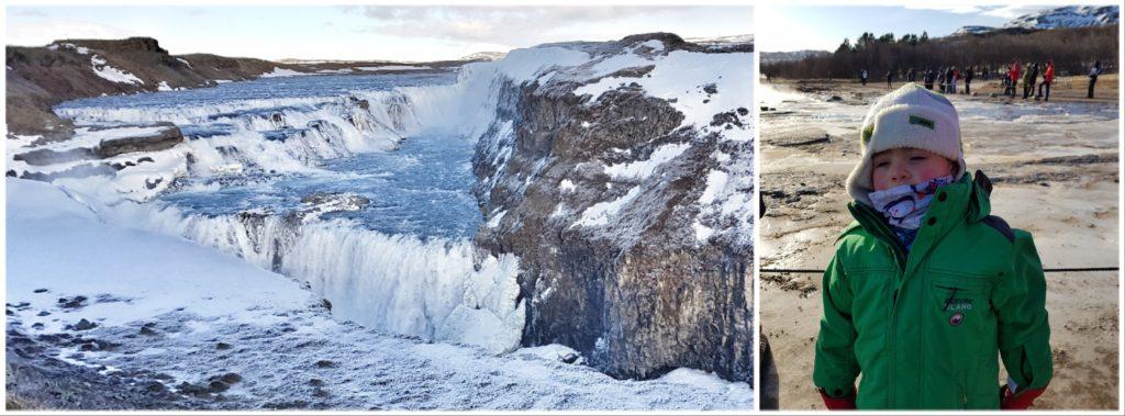 cascade de gullfoss et petit poussant ayant tres froid devant le geyser
