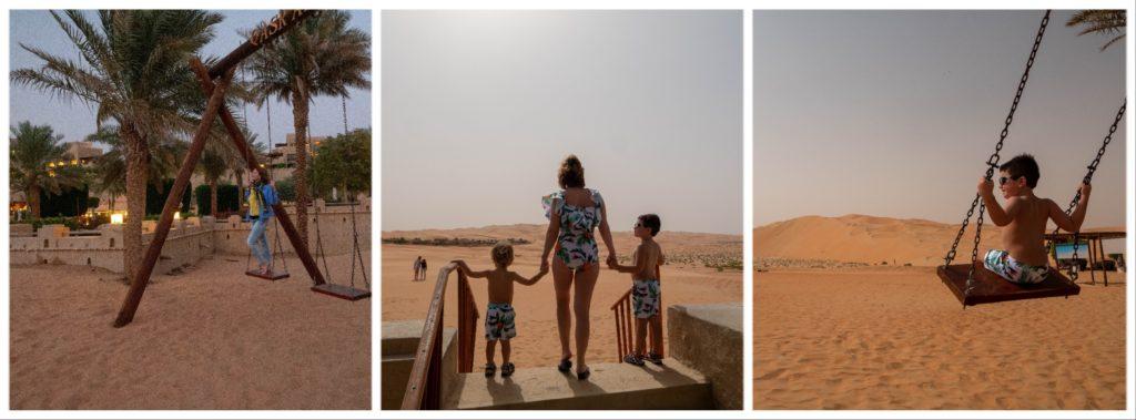 triptyque montrant un enfant sur une balançoire, maman sur la balançoire et maman avec les 2 enfants de dos