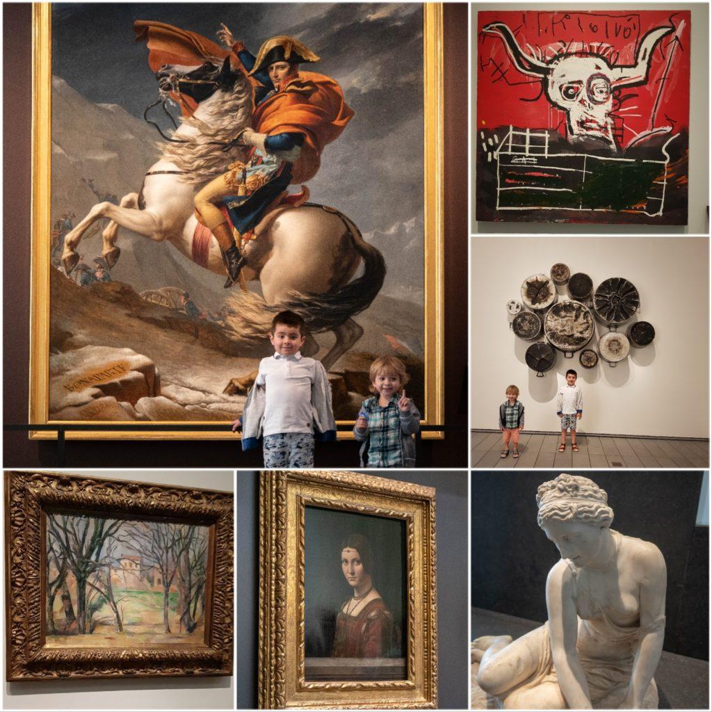 œuvres d'art: Napoléon franchissant les Alpes, La belle ferronnière de Vinci, Basquiat, Monet, statue grecque