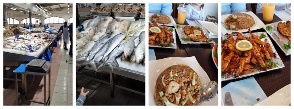 poissons sur les étals puis cuits au fish market
