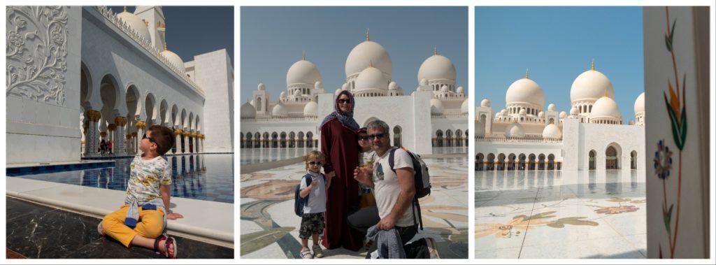 photo de famille à la mosquée avec maman en abaya