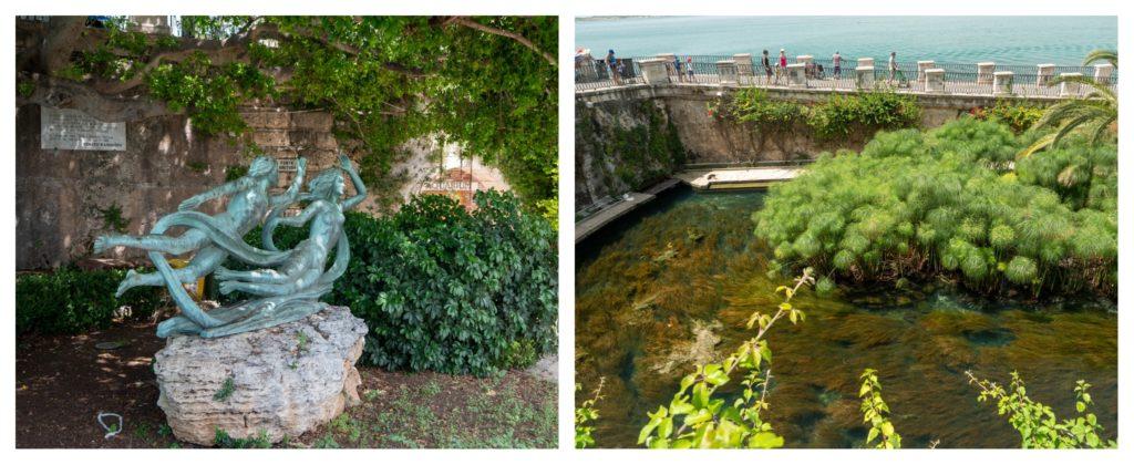 La Fonte Aretusa sur l'île d'Ortygie à Syracuse