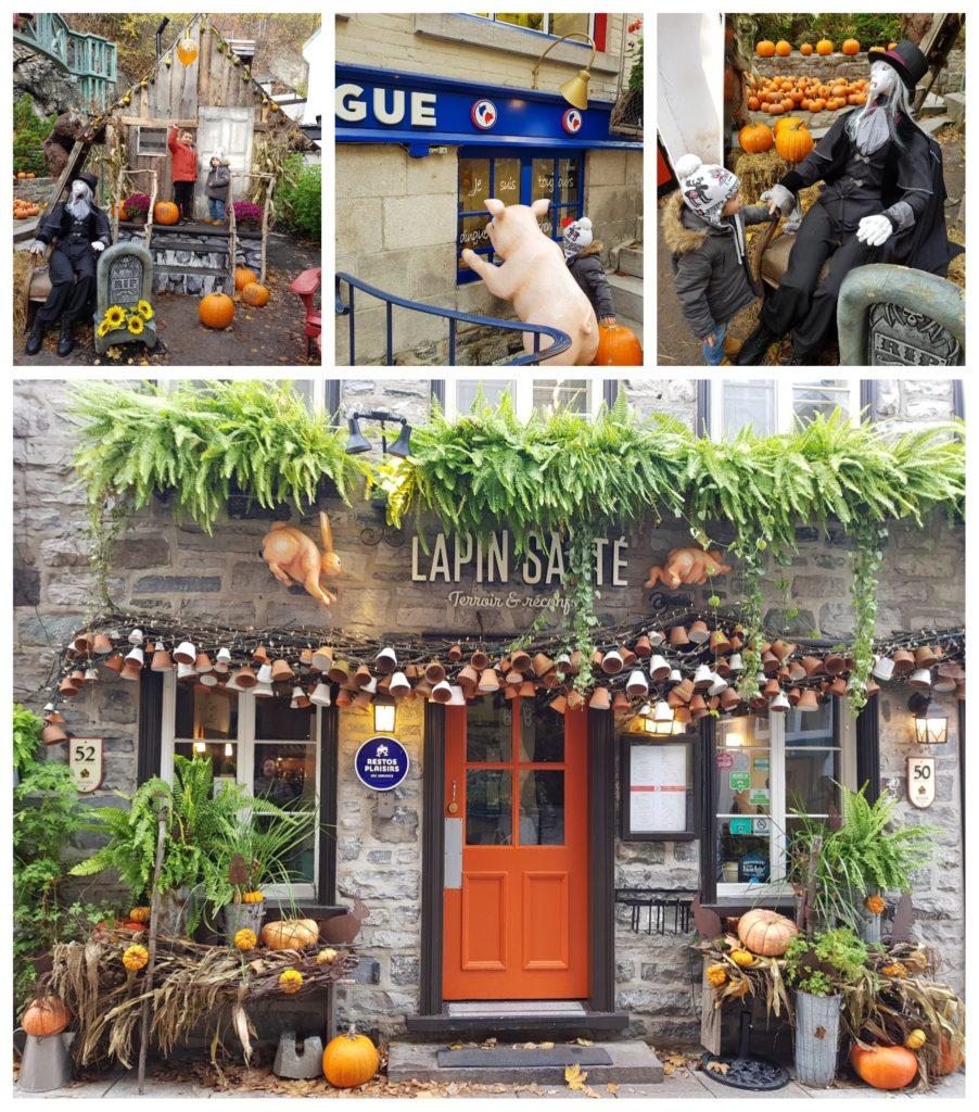 La rue du petit Champlain décorée pour halloween. Voyage en famille à Québec