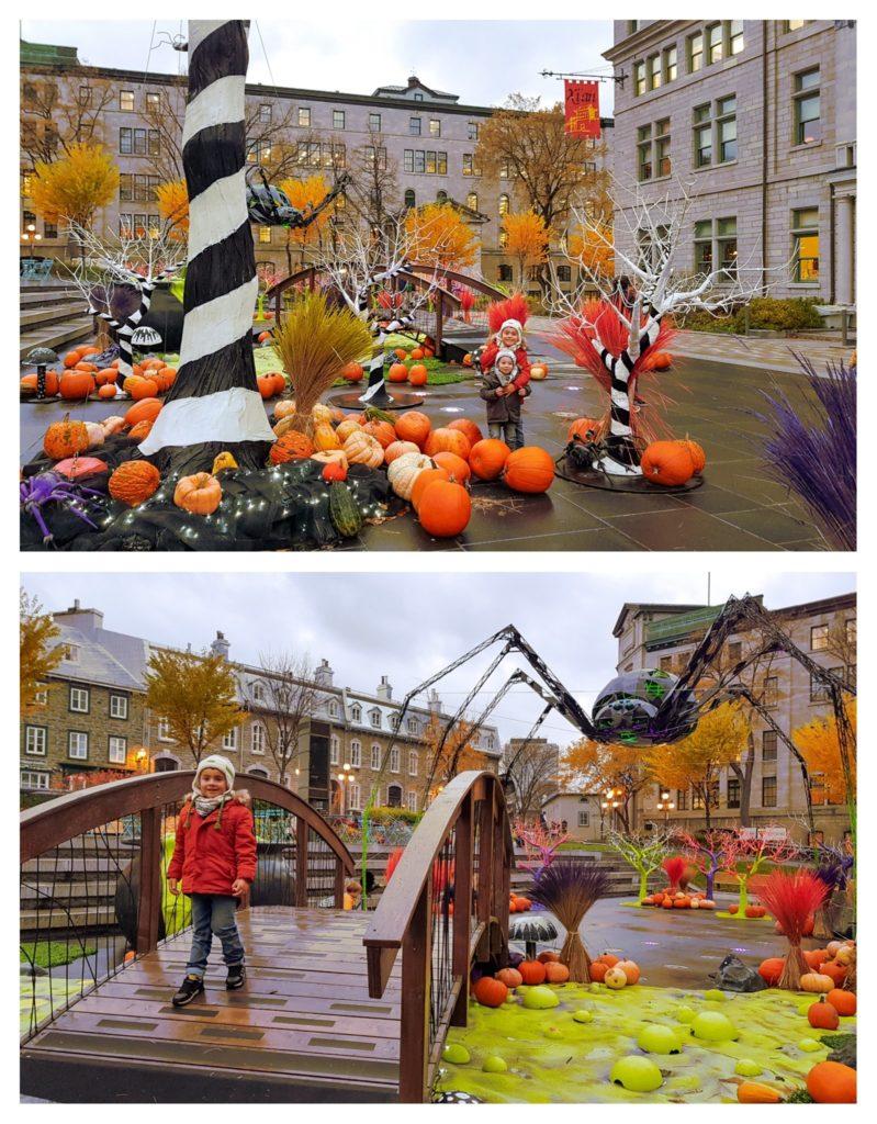Installation géante pour Halloween devant l'hotel de ville de Québec. Visite de Québec en famille pendant l'automne